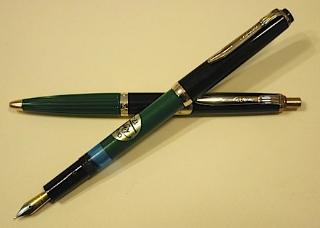 Other pens other brands new old stock with original stickers on barrels made in germany fountain pen model 1745 in green black ballpoint pen model 620 with ribbed green section altavistaventures Images